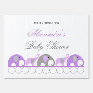 Lavender and Gray Elephant Baby Shower Welcome Yard Sign