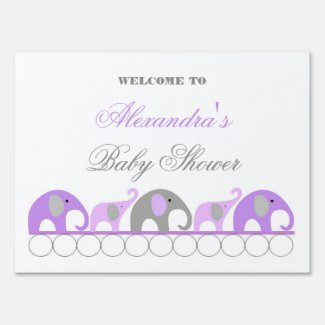 Lavender and Gray Elephant Baby Shower Welcome