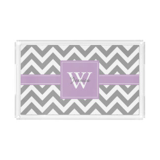 Lavender and Gray Monogrammed Chevrons Pattern Rectangle Serving Trays