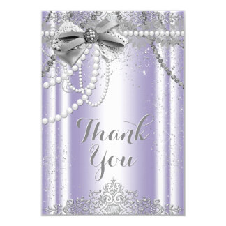 Lavender and Gray Pearl Thank You Card