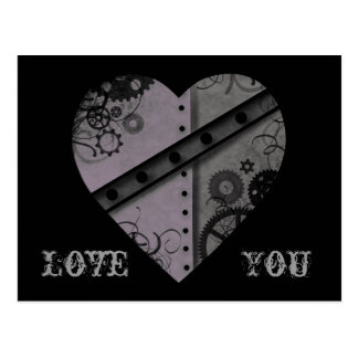 Lavender and gray steampunk heart Love You Postcard
