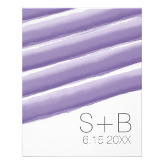 Lavender and Gray Watercolor Stripes Wedding Flyer