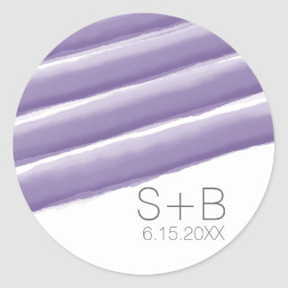 Lavender and Gray Watercolor Stripes Wedding Classic Round Sticker