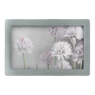 Lavender and Green Chive Flowers on Gray Rectangular Belt Buckles