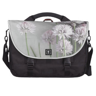 Lavender and Green Chive Flowers on Gray Bag For Laptop