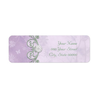 Lavender and Green Spring Floral Wedding Label