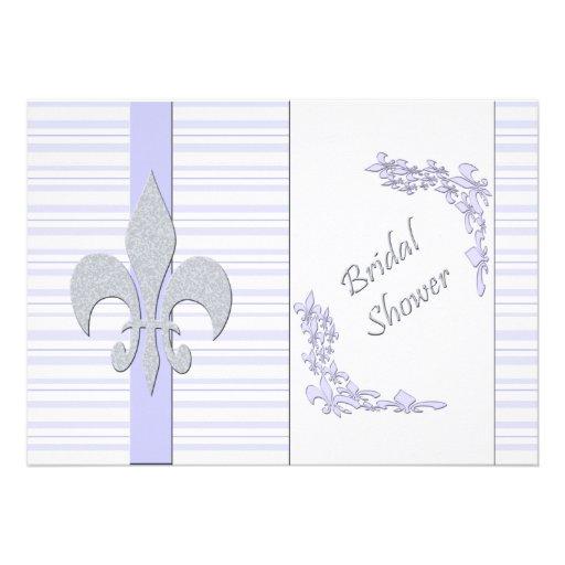 Lavender and Grey Fleur de Lis Bridal Shower Personalized Invites