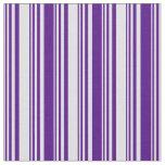 [ Thumbnail: Lavender and Indigo Lines Fabric ]