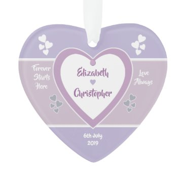 Bride Themed Lavender and Lilac Wedding love hearts Ornament