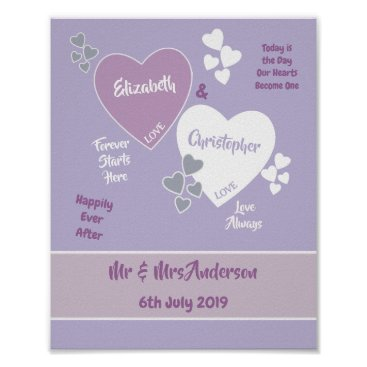 Art Themed Lavender and Lilac Wedding Sign Poster