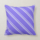 [ Thumbnail: Lavender and Medium Slate Blue Colored Stripes Throw Pillow ]