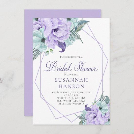 Lavender and Mint Floral Geometric Bridal Shower C Card