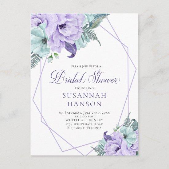 Lavender and Mint Geometric Peonies Bridal Shower Postcard