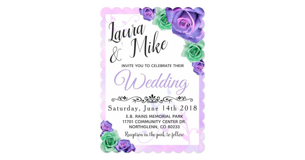 Purple Rose Wedding Invitations: Lavender And Mint Green Rose Wedding Invitations