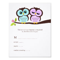 Lavender and Mint Owls Wedding Card