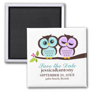 Lavender and Mint Owls Wedding Magnet