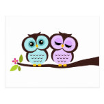 Lavender and Mint Owls Wedding Postcard