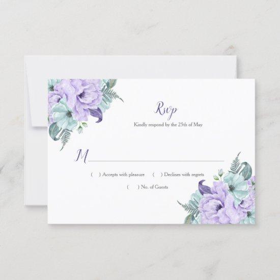 Lavender and Mint Watercolor Peonies Lattice RSVP