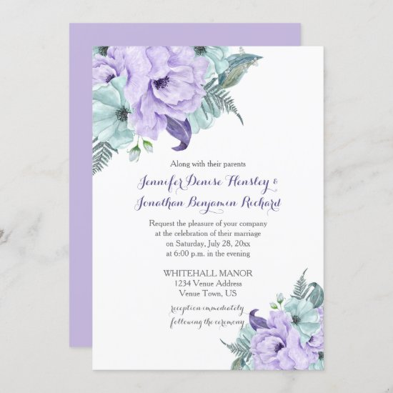 Lavender and Mint Watercolor Peonies Wedding Invitation