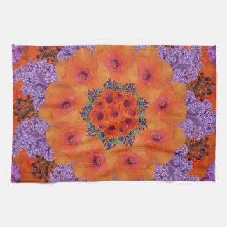Lavender and Orange Kaleidoscopic Fantasy Kitchen Towel