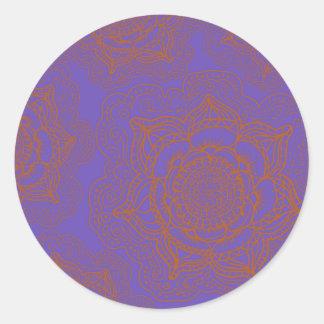 Lavender and Orange Mandala Pattern Classic Round Sticker