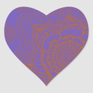 Lavender and Orange Mandala Pattern Heart Sticker