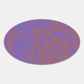 Lavender and Orange Mandala Pattern Oval Sticker
