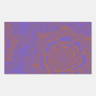 Lavender and Orange Mandala Pattern Rectangular Sticker