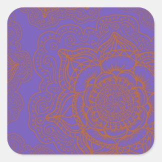 Lavender and Orange Mandala Pattern Square Sticker