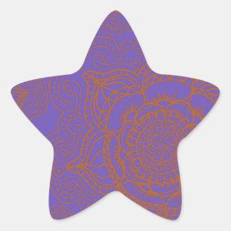 Lavender and Orange Mandala Pattern Star Sticker