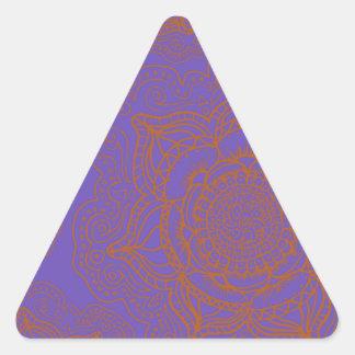 Lavender and Orange Mandala Pattern Triangle Sticker