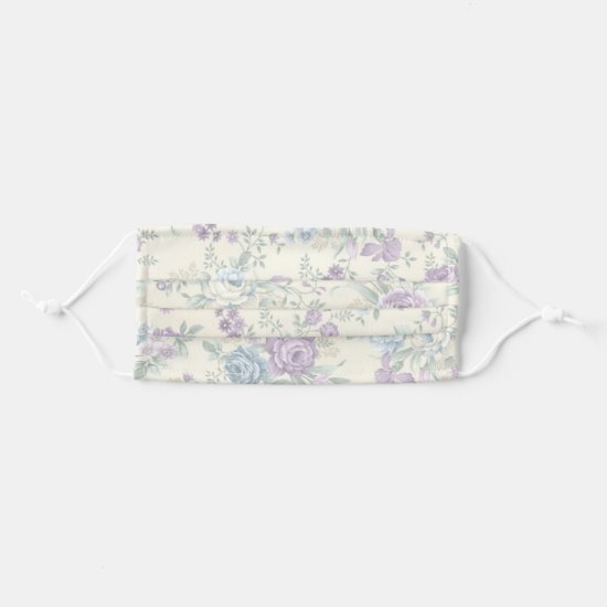 Lavender and Pale Blue Watercolor Roses Adult Cloth Face Mask