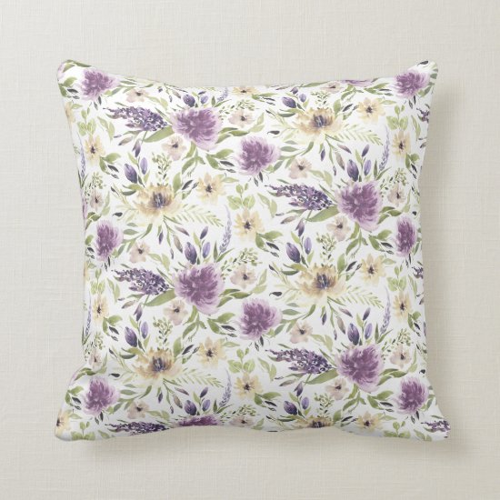 Lavender and Pale Yellow Watercolor Flowers Throw Pillow