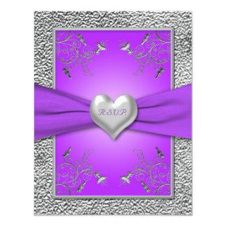 Lavender and Pewter Heart RSVP Card
