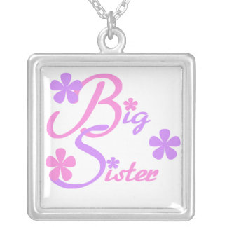 Lavender and Pink Big Sister Gifts Silver Plated Necklace
