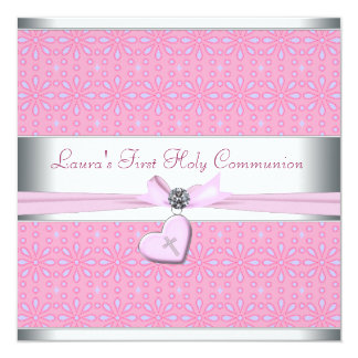Lavender and Pink Heart Pink Cross First Communion 5.25x5.25 Square Paper Invitation Card