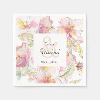 Lavender and Pink Pastel Watercolor Floral Wedding Paper Napkin
