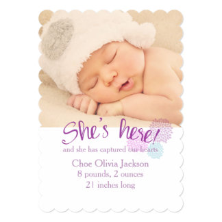 Lavender and Pink Photo Birth Announcement