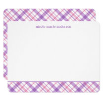 Lavender and Pink Plaid Pattern Note Cards