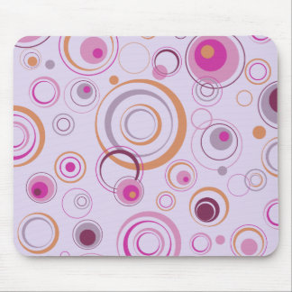 Lavender and Pink Playful Retro Circles Mouse Pad