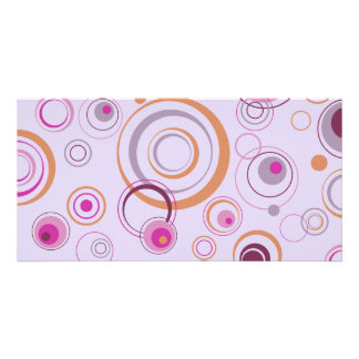 Lavender and Pink Playful Retro Circles Photo Card Template