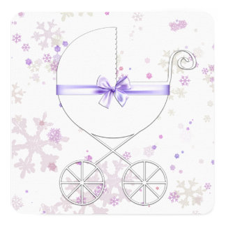 """Lavender and Pink Snowflake Baby Shower 5.25"""" Square Invitation Card"""