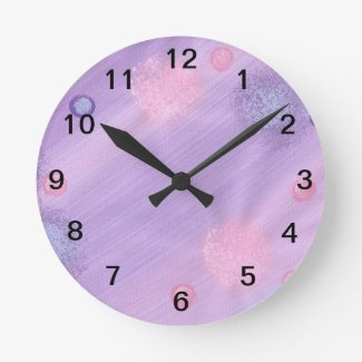 Lavender and Pink Spheres Wall Clock