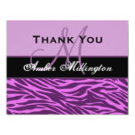 Lavender and Plum Zebra Thank You Card Custom Invite