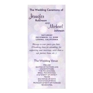 Lavender and Purple Bokeh Wedding Program Rack Cards
