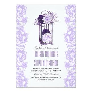 Lavender and Purple Flowers Lantern Wedding Invitation