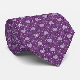 Lavender and purple hearts argyle pattern neck tie