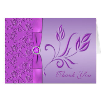 Lavender and Purple Jewelled Thank You Card