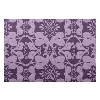 Lavender And Purple Modern Elegant Leaf Pattern Placemats