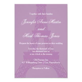 Lavender and Purple Paris Eiffel Tower Wedding Card